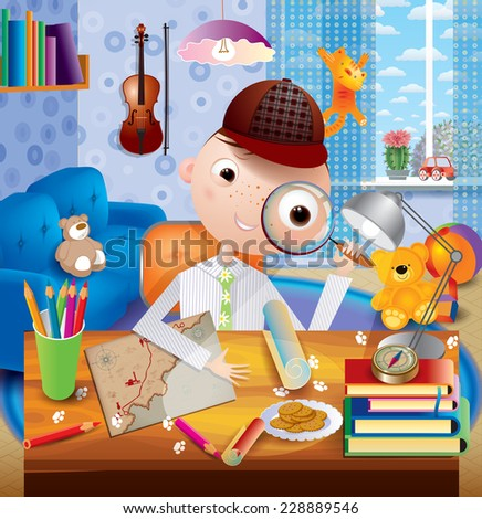young watcher in the children's room - stock photo
