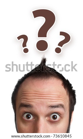 Young white Caucasian male adult has way too many questions in his head, isolated on white background - stock photo
