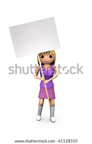 Young White 3D Blonde Girl Holding Blank Protest Sign - stock photo