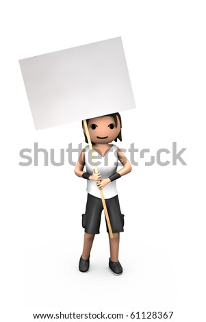 Young White 3D Male Holding Blank Protest Placard - stock photo