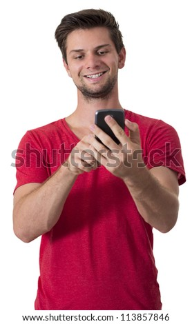 Young White Man In Red T-Shirt Working On His Smartphone - stock photo