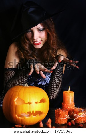 young witch on halloween night