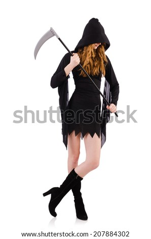 Young witch with scythe isolated on white - stock photo