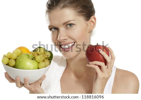 young woman after fitness on white background - stock photo