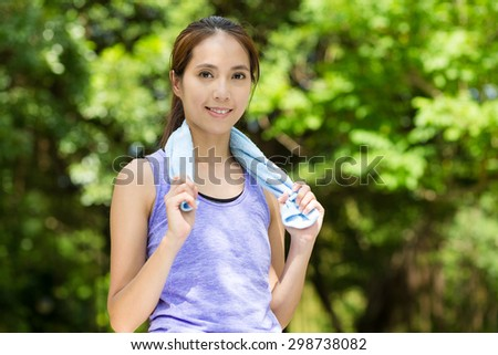 Young woman after running - stock photo