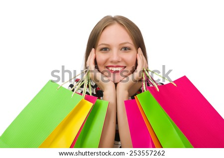 Young woman after shopping isolated on the white - stock photo