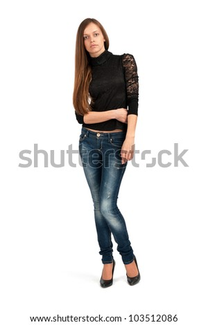young woman against white background