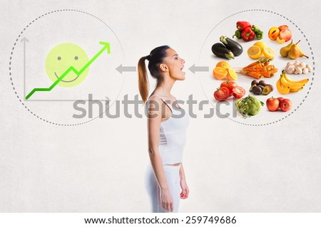 Young woman and a healthy diet concept - stock photo