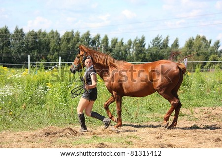 Young woman and chestnut horse at the field - stock photo