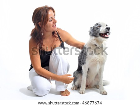 young woman and her best friend purebred border collie