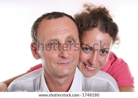 Young woman and her grandfather - stock photo