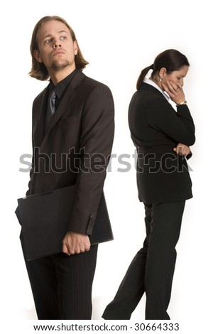 young woman and man business communication meeting - stock photo