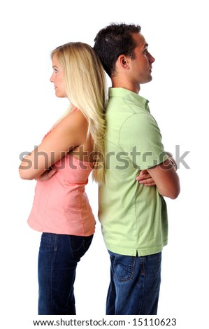 Young woman and man having relational problems - stock photo