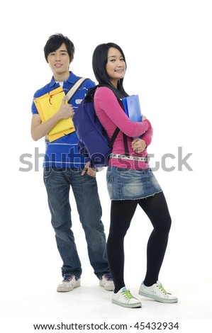 Young woman and man standing with books and bags