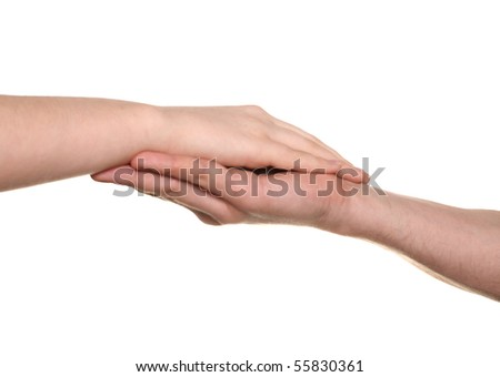 young woman and men hands