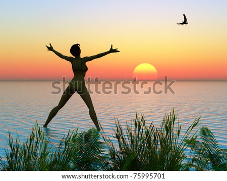 Young woman and the eagle early morning, when the sun is rising - stock photo