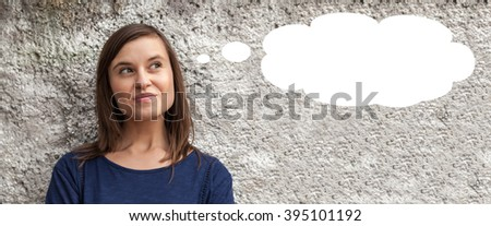 Young woman and thinking bubble - stock photo