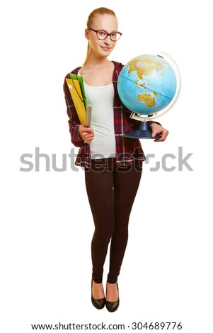 Young woman as geography teacher carrying a globe - stock photo