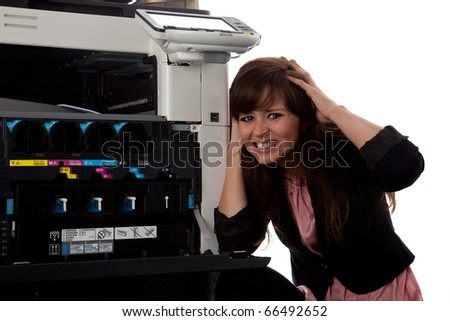 Young woman at the copy machine 9981 - stock photo