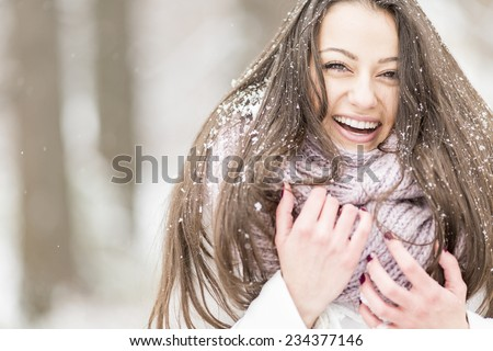 Young woman at winter - stock photo