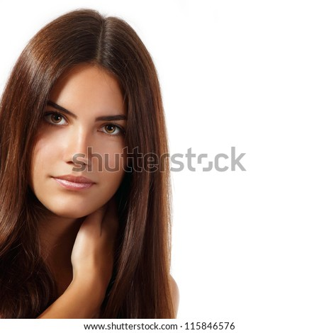 young woman beautiful cheerful enjoying with long strong brown hair isolated on white background