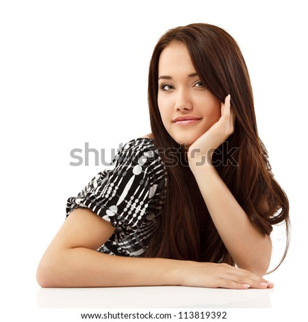 young woman beautiful cheerful lying and looking at camera isolated on white background - stock photo
