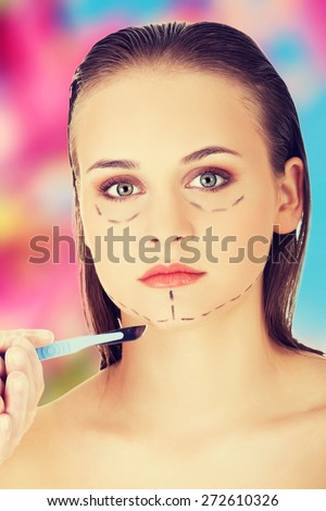 Young woman before a cosmetic surgery - stock photo