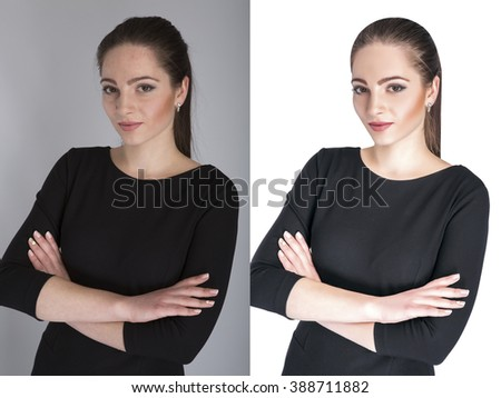 Young woman,  before and after retouch, beauty treatment.  Before and after cosmetic operation.  anti-age therapy, removal of acne, retouching.  - stock photo