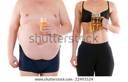 Young woman beneath a very fat man - stock photo