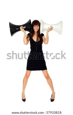 young woman blocking her ears and not listening - stock photo