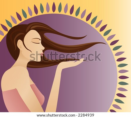Young woman blowing a kiss on her hand, side view with radiant sun shape in the background - stock photo