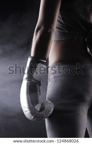 Young woman boxer, close up - stock photo
