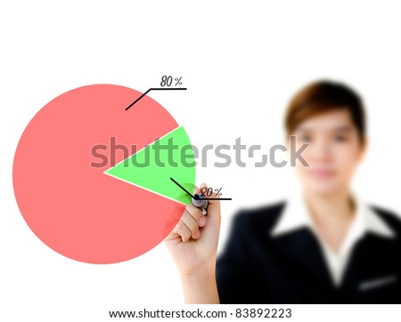 Young woman business hand drawing showing graph. - stock photo