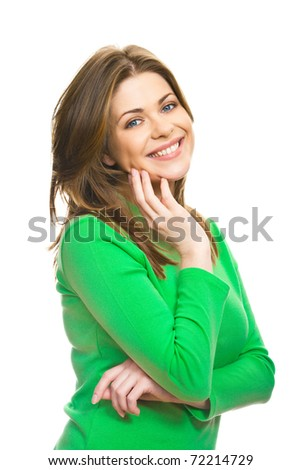 Young woman casual portrait in positive view, natural and big smile on happy face of beautiful model posing in studio on white background. Isolated. - stock photo
