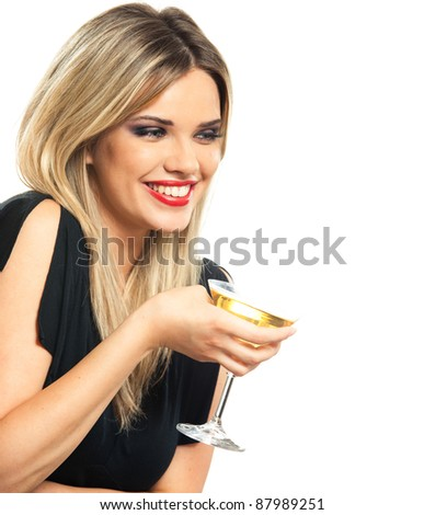 young woman cheerfully and happily celebrating the event, isolated over white background - stock photo