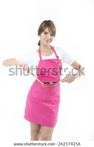 Young woman chef cooking white - stock photo