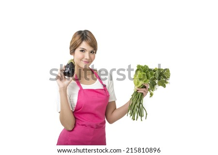 Young woman chef cooking white background  - stock photo