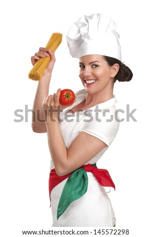 young woman chef showing ingredients for italian food on white