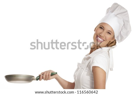 young woman chef with  different tools on white - stock photo
