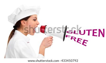 Young woman chef with megaphone and text Gluten Free isolated on white