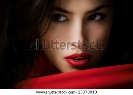 young woman closeup portrait - stock photo