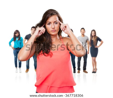 young woman concentration gesture - stock photo