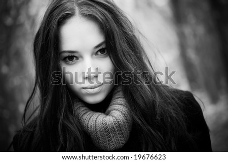Young woman concept black and white portrait. - stock photo