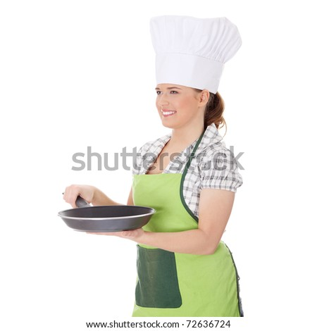 Young woman cooking, isolated on white - stock photo