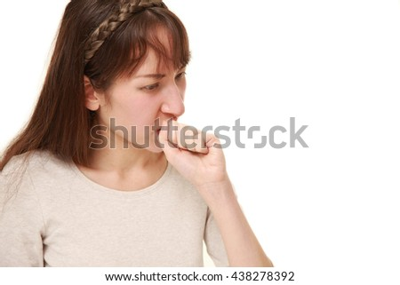 young woman coughing?