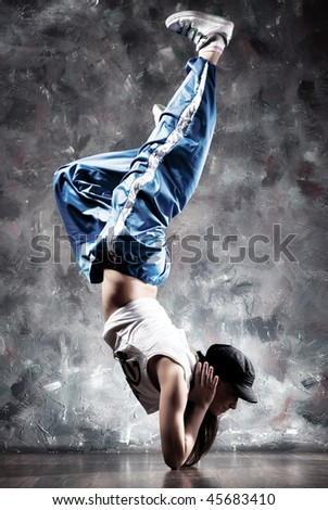 Young woman dancer. Contrast colors.