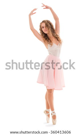 Young woman dancer on the white background - stock photo