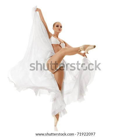 Young woman dancing classic ballet isolated over white background - stock photo