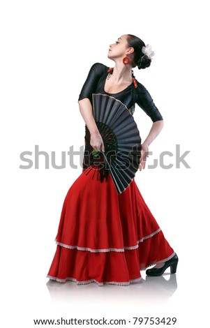 young woman dancing flamenco with fan isolated on white - stock photo