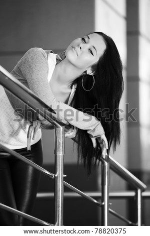 Young woman daydreaming - stock photo